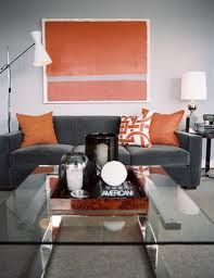grey and orange living room - Google Search