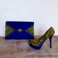 Shoe with matching clutch bag made with african print by Bayabs