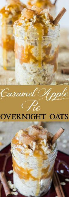 Caramel Apple Pie Overnight Oats is a delicious breakfast that's quick to whip up and tastes like dessert!: