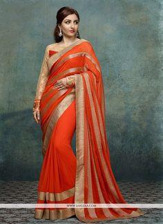 38092da0cf3 Soha Ali Khan Orange Georgette Casual Saree