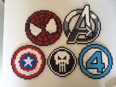 Marvel Superhero logos perler beads by PlanetPixel Perler Bead Designs, Hama Beads Design, Diy Perler Beads, Pearler Bead Patterns, Perler Bead Art, Perler Patterns, Pearler Beads, Pixel Beads, Fuse Beads