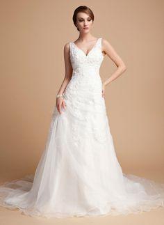 A-Line/Princess V-neck Chapel Train Organza Satin Wedding Dress With Ruffle Lace Beading (002000378) http://www.dressdepot.com/A-Line-Princess-V-Neck-Chapel-Train-Organza-Satin-Wedding-Dress-With-Ruffle-Lace-Beading-002000378-g378 Wedding Dress Wedding Dresses #WeddingDress #WeddingDresses