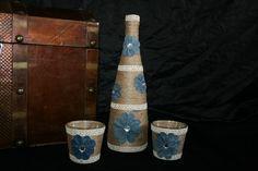 Deko-Objekte - Dekoflasche mit 2 Teelichtgläsern, Spitze, Blüten - ein Designerstück von Angelas_Kreativwelt bei DaWanda