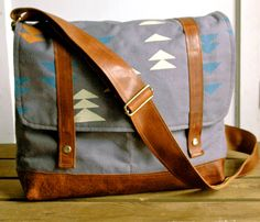 Alpine Messenger Bag in Grey Canvas with Leather by appetite, $114.00