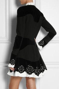 Alexander McQueen|Paneled velvet and crepe dress|NET-A-PORTER.COM