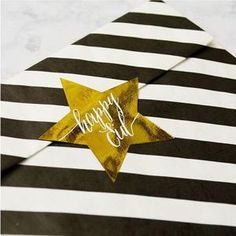 Gold foil star stickers can be used anywhere, envelopes, favor bags, straws or just for fun. Pair with our black and white stripe banner for a special new twist. Gold Star Stickers, Eid Banner, Eid Cake, Eid Party, Cupcake Picks, Happy Eid, Favor Bags, Gold Stars, Gold Foil