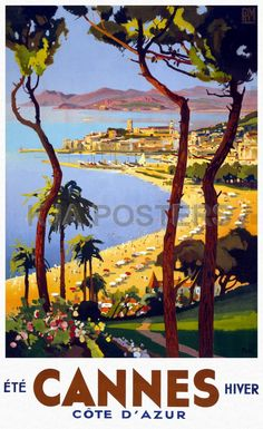 Vintage Posters - Cannes Summer Winter Gold Coast Vintage Travel Posters - Vintage Travel Posters