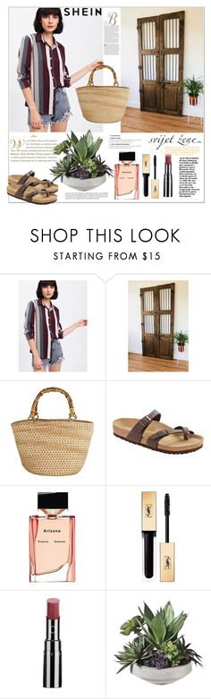 """""""Shein.Vertical Striped Curved Hem Shirt"""" by natalyapril1976 ❤ liked on Polyvore featuring Birkenstock, Proenza Schouler and Yves Saint Laurent"""