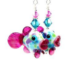 Fish Earrings Fish Lampwork Earrings Glass Fish by BeadzandMore, $36.00