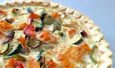 Make for breakfast, eat for lunch, or have as an easy dinner, this Roasted Vegetable Quiche is perfect for whenever you decide to cook it. The fluffy eggs give you a great flavor as do the wonderful roasted vegetables. This delicious egg recipe is a truly awesome eating experience with complex textures and beautiful colors. Made with gluten-free frozen pie crust from Whole Foods. You can sub regular pie crust, packaged or homemade.