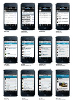 Evolution of Foursquare's UI from launch at Jan 09 to Aug 2011. Posted by Mari Shelby, designer at Foursquare http://marsbot.tumblr.com/post/9008766207/an-evolution-of-foursquare-design-from-january