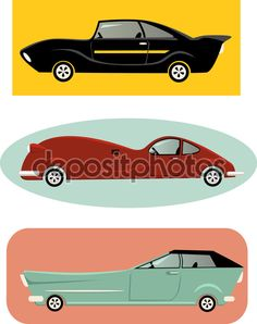 Set of a vintage-inspired cartoon muscle cars, vector illustration