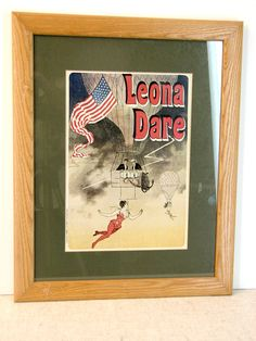 Leona Dare American Trapeze Artist and Aerial Acrobat Hot Air Balloon Lithograph - pinned by pin4etsy.com