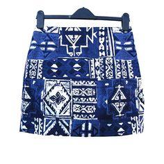Blue, Tribal Batik Print - Vintage Mini Skirt by EclecticShop at Etsy