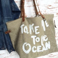 """Take me to the Ocean"" Sacs Tote Bags, Sac Week End, Diy Bags Purses, Produce Bags, Linen Bag, Printed Tote Bags, Cotton Bag, Cloth Bags, Handmade Bags"