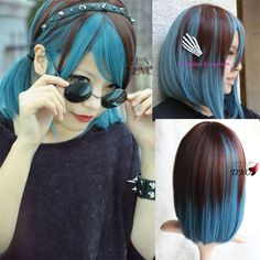 Features:  Length: Medium Long Material: 100% Generation of High-quality High-temperature Japanese Fiber. Syle: Straight Package: 1xwig Color: Brown+Blue