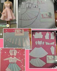 sew sewing pattern sewinglife dressmaker terzi… HowToSewAGown - Her Crochet Dress Making Patterns, Skirt Patterns Sewing, Sewing Patterns Free, Pattern Making, Clothing Patterns, Frock Patterns, Free Pattern, Sewing Clothes, Barbie Clothes