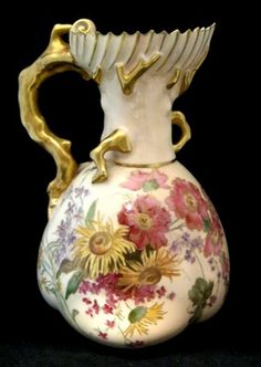 A Royal Worcester Flower & Gilt Coral Handle Decorated Jug Dated 1903 Mod 1507 | eBay