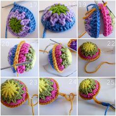 A granny spherification tutorial crochet Crochet Ball, Knit Or Crochet, Crochet Motif, Crochet Crafts, Yarn Crafts, Crochet Flowers, Crochet Stitches, Crochet Hooks, Crochet Projects