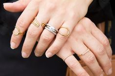 1 Girl, 4 Looks: Super Stylist Tara Swennen Takes Us Inside Her Rad Closet #Refinery29XIV Kts wedding bands and rose gold pinky ring, Dana Rebecca long gold and diamond ring, Balenciaga gold rings.