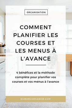 Découvrez les 4 bénéfices de planifier les courses et les menus à l'avance et la méthode complète pour vous organiser en cliquant ici. via @mamansorganise