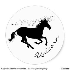 Shop Magical Cute Unicorn Stars Black and White Classic Round Sticker created by YourSparklingShop. Round Stickers, Cute Stickers, Black And White Stickers, Cute Unicorn, Different Shapes, Planner Stickers, Unicorns, Activities For Kids, Korea