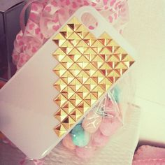 White this gold studs i phone case