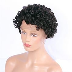 """HonorHair Short Brazilian Virgin Hair Lace Front Wigs Human Hair Wavy Bob Style Kinky Curly Glueless Wigs 8""""-18"""" -- Awesome products selected by Anna Churchill"""