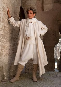 Asymmetrical oatmeal pure linen coat ( thick and souple) worn over our Khan sarouel