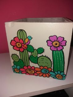 Flowerpot painted with cacti. Flower Pot Art, Flower Pot Crafts, Clay Pot Crafts, Cactus Flower, Diy Clay, Painted Plant Pots, Painted Flower Pots, Decorated Flower Pots, Cactus Painting