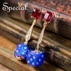 Special Brand Fashion Dice Stud Earrings CZ Diamond Trendy Earrings Drop Ear-piercing 2017 New Jewelry Gifts for Women S1604E