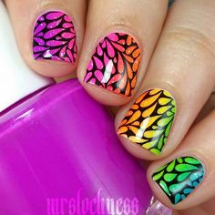 Captivating nail art done by @mrslochness of instagram, here she used MM29 Nail Stamping Plate from Messy Mansion.