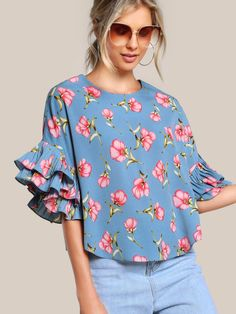 SheIn offers Pleated Ruffle Sleeve Dolphin Hem Top & more to fit your fashionable needs. Blouse Patterns, Blouse Designs, Half Sleeves, Types Of Sleeves, Ruffle Sleeve, Blouses For Women, Fashion Dresses, Clothes, High Low