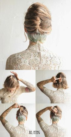 Ill die my undercut some bright color and be all fancy and ladylike and shit . When I grow my hair out ✌ Short Hair Updo, Haircuts For Long Hair, Long Hair Cuts, Tousled Hair, Long Bob Updo, Trendy Haircuts, Undercut Hairstyles, Pretty Hairstyles, Short Hair Undercut