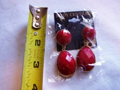 Gold Tone and Red Dangle Pierced Earrings by Body Central  - for sale at Wenzel Thrifty Nickel ecrater store