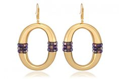 Purple Passion Earrings by Simone I. Smith 18Kt. Yellow Gold Over Sterling Silver