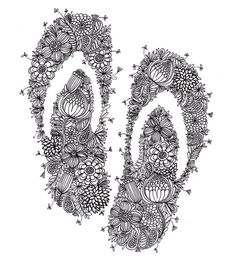 flip flops by cloud nine creative Zen Doodle, Colouring Pages, I Tattoo, Tatoos, Body Art, Fine Art Prints, Graphic Design, Ink, Crafty