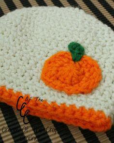 Cream Of The Crop Crochet ~ Preemie Pumpkin Applique Hat {Free Crochet Pattern}