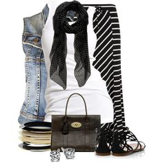 Black scarf white tank top denim vest stripped skirt Maurices Contest by colierollers on Polyvore
