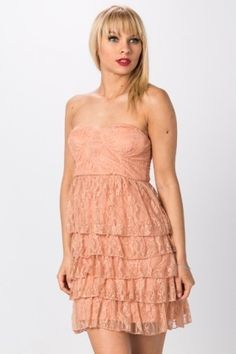 Bandeau Lace Tier Dress - Coral - Just Affordable Dresses, Cheap Dresses, Tiered Dress, Latest Dress, Dress Outfits, Fashion Online, Knitwear, Strapless Dress, White Dress