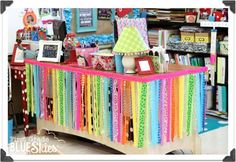 Rainbow Ribbon Skirt for classroom desk makeover