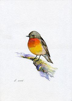 Bird, Robin, Nature, Illustration,Watercolor Original Painting Art, Quick sketch #IllustrationArt   Natalia Komisarova   NatalieStorePainting     You can also find me on:    EBAY: http://www.ebay.com/usr/natalie_komisarova.art    ETSY: https://www.etsy.com/shop/NatalieStorePainting    FACEBOOK: https://www.facebook.com/komisarova.art    #NataliePaintings #Natalie #Artist #Illustration #Fashion #Bird