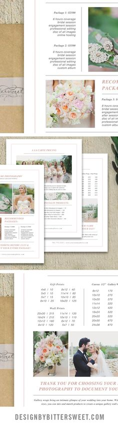 Attract your brides with our minimal and elegant designs. Wedding photography pricing guides. Price list for photography. Photos by Forever Photography Studio.