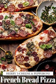This French Bread Pizza recipe has layers of flavor-packed toppings baked onto soft French bread. Topped with 3-cheeses, pepperoni & fresh herbs. // recipes homemade French Bread Pizza, Favourite Pizza, Pizza Recipes, Fresh Herbs, Pepperoni, Vegetable Pizza, Good Food, Cheese, Homemade