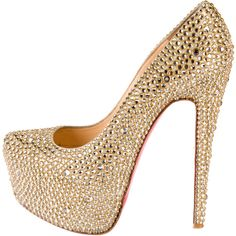 Pre-owned Christian Louboutin Daffodile 160 Strass Pumps ($1,995) ❤ liked on Polyvore featuring shoes, pumps, gold, christian louboutin, gold pumps, hidden platform shoes, pre owned shoes and gold shoes