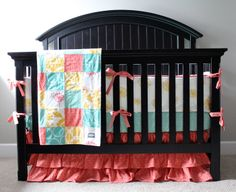 Custom Crib Bedding  Coral Mint and Yellow Baby by GiggleSixBaby, $445.00