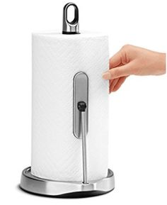 simplehuman Tension Arm Paper Towel Holder, Stainless Steel Tear off one sheet at a time without unraveling Heavy duty weighted base Finger loop to easily move holder warranty