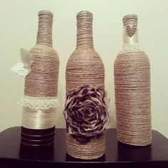 Wine Bottle Decor  Set of 3 Bottles by Uchique on Etsy, $26.00 or drink some wine and have the bottles for your next project
