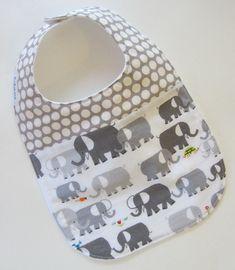 ORGANIC Baby Bib - Elephants Spot On / Babiease Baby Boutique / Custom Baby Gift Sets on Etsy, $13.00