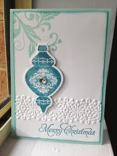 Linda Higgins - Stampin Up Ornament Keepsakes and Flowering Flourishes Christmas Card